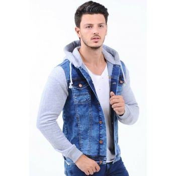 Sleeves Gray Hooded Light Blue Mens Denim Jacket hak2010