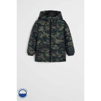 Khaki Color Boy Hooded Quilted Coat 53055009