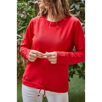 Women's Red Waist Lace-up Sweatshirt 9YXK2-41639-04