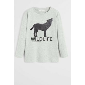 Medium Flecked Gray Boy Kids Double Sided Wolf Sequin T-Shirt 57045917