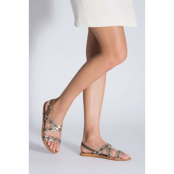 Genuine Leather Green Gold Women Sandals 01SAH103460A845