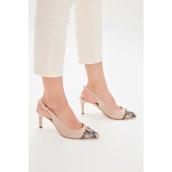 Beige Snake Patterned Suede Women Heels Shoes TAKAW20TO0055