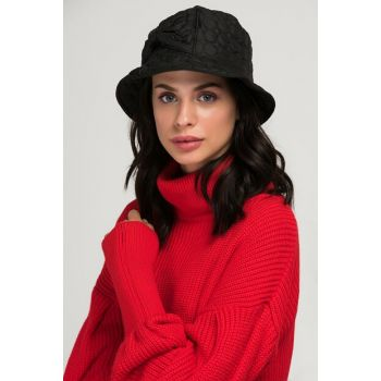 10917 Quilted Bow Detailed Bucket Black Hat SPK-1853