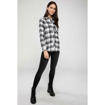 Women Black Plaid Shirt J0811AZ.18AU.BK27