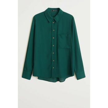 Women's Green Pockets Draped Shirt 51013711