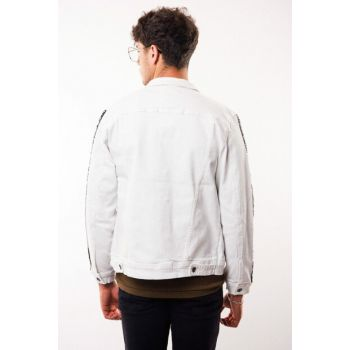 Men's White Jeans Jacket with Handles Ribbon Detail - d10884