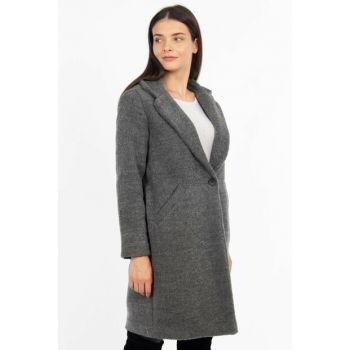 Women's Gray Single Button Coat 6495