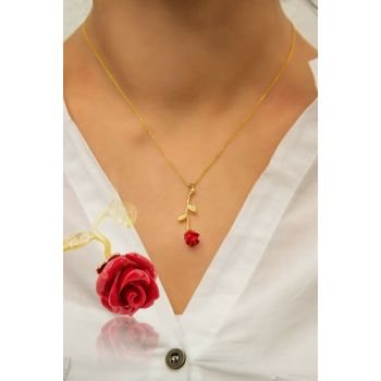Rose Silver Gold Plated Coral Necklace UVPS100049
