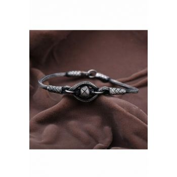 Casual Hand Wrapped Oxidized Silver Bracelet 2101 344408