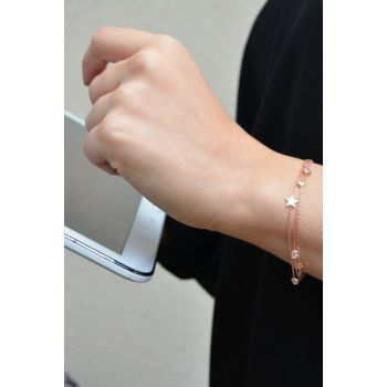 Women's Star and Sterling Silver Three Chain Bracelet B041101