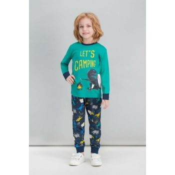 Dinosaur Camping Emerald Green Boys Pajamas Set RP1538-C-V1
