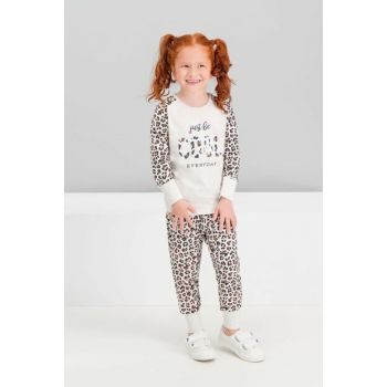 Cool Leopard Creammelange Girls Kids Pajama Set RP1587-C-V1