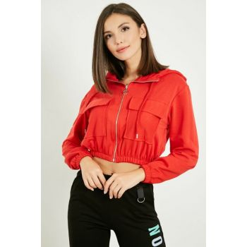 Hooded Zippered Crop Jacket - RED 20KMO332K115
