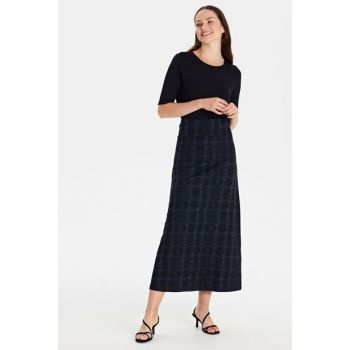 Women Navy Blue Jacquard Skirt 9WL048Z8