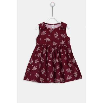 Baby Girl Burgundy Printed Lqv Dress 9W2047Z1