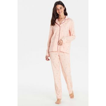 Women's Light Pink Print Pajamas Suit 9W9956Z8