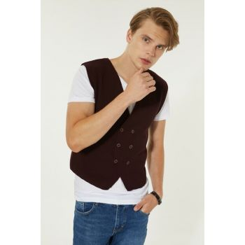 Bordeaux Men's Dobby Double Breasted Vest A92S6560