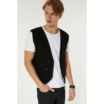 Black Male Dobby Double Breasted Vest A92S6560