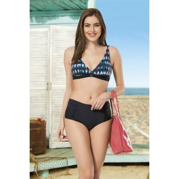 Women's Colorful-Black High Waist Capless Bikini Set NB19YBK00031