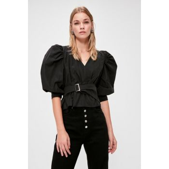 Black Binding Detailed Blouse TWOAW20BZ0923
