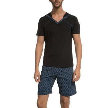Men's Black Short Sleeve Pajama Set 002-000465