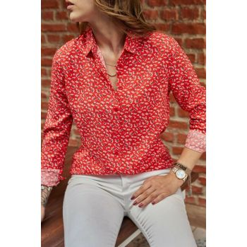 Women's Red Floral Printed Shirt 9YXK2-41747-04