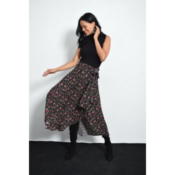 Women's Black Floral Asymmetrical Skirt LV103