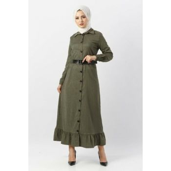 Women's Flywheel Velvet Dress TSD1847 Khaki TSD1847