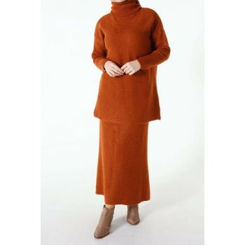 Women's Tile Turtleneck Skirt Suit TT80231