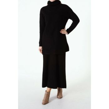 Women's Black Turtleneck Skirt Suit TT80231