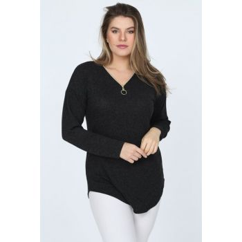 Women's Anthracite Long Sleeve Blouse DSN0555