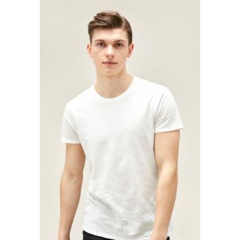 Men's White Bicycle Neck Cotton Short Sleeve T-Shirt 329319