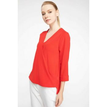 Women's Red Double Breasted Blouse J8348AZ.18AU.RD275