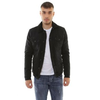 Black Fur Men's Black Denim Jacket dk4404ltc