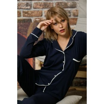 Women's Navy Blue Buttoned Long Sleeve Cotton Lycra Sleepwear Suit 2261S
