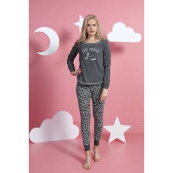 Women's Anthracite Pajamas Set 8021140126 TVIE19FWPTK102