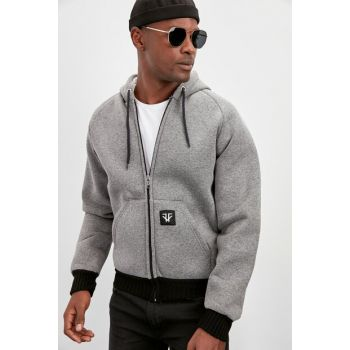 Anthracite Men Hooded New Coat with Zipper Closure TMNAW20MO0108