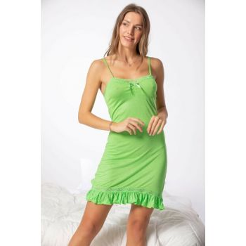 Women's Green Cotton Lacy Lycra Nightgown 2125