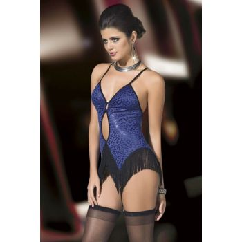 Women's Blue Leopard Pattern Tasseled Nightgown Garter Suit Rihanna FD-1151