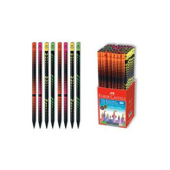 Faber Network and Trace Patterned Round Pencil Black Wood 72 Li Pack (5242115813) F5242115813P72