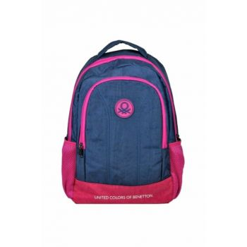Benetton Two Compartment Navy Blue / Pink Backpack - Hakan 96006 HKN96006
