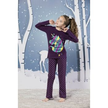 Girls' Patterned Cotton Lycra Sleepwear Suit 19224074