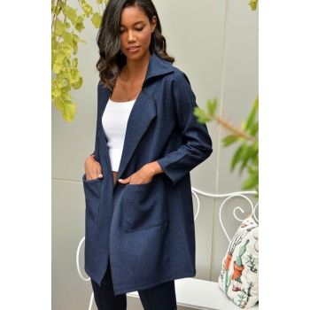 Women's Navy Blue Double Pocket Stamp Knitted Jacket ALC-015-255-TE