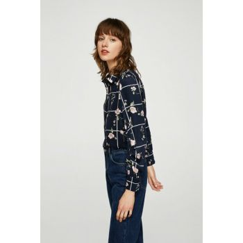 Women's Dark Blue Patterned Draped Shirt 13057692