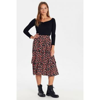 Women's Red Printed Skirt 9WP749Z8