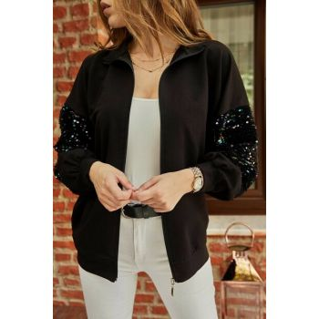 Women's Black Sleeves Sequined Zippered Sweat 9YXK8-41857-02