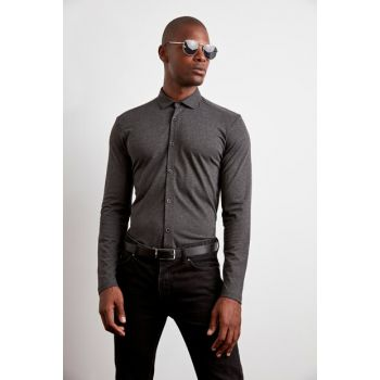 Anthracite Men Pique Fabric Extra Slim Fit Knitted Shirt TMNAW20GO0370
