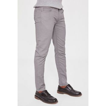 Gray Men's 5 Pocket Slim Fit Textured Trousers TMNAW20PL0070