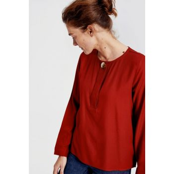 Women's Dark Red Blouse 9WH646Z8