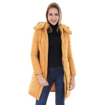 Women's Mustard Hooded Inflatable Coat 5003BGD19_010
